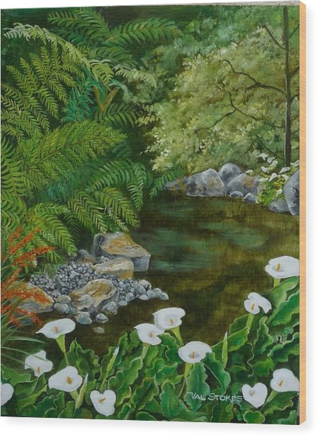 Fantastic Canna Lillies Wood Print by Val Stokes