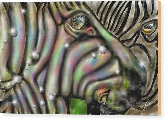 Wood Print featuring the digital art Fantastic Zebra by Darren Cannell