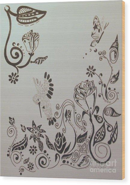 Fantasy Garden Wood Print