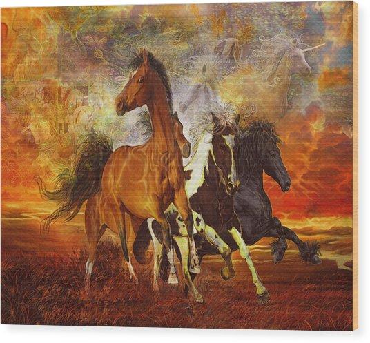 Fantasy Horse Visions Wood Print
