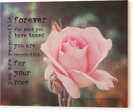 Fantin-latour Roses Quote Wood Print by JAMART Photography