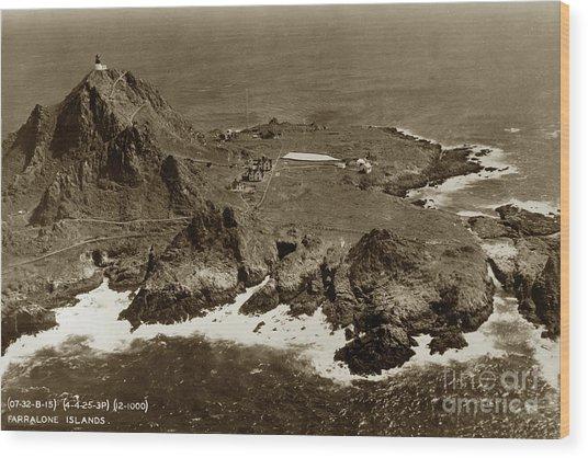 Farallon Island Lighthouse Pacific Ocean April 4, 1924 Wood Print
