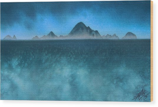 Farallon Islands II Or The Misty Isle Wood Print by Robin Street-Morris