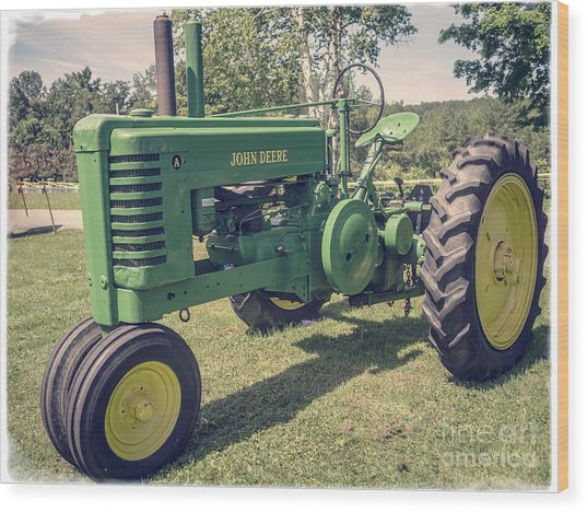 Farm Green Tractor Vintage Style Wood Print
