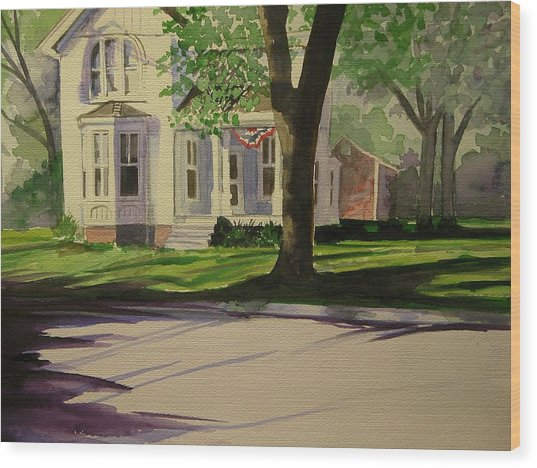 Farm House In The City Wood Print by Walt Maes