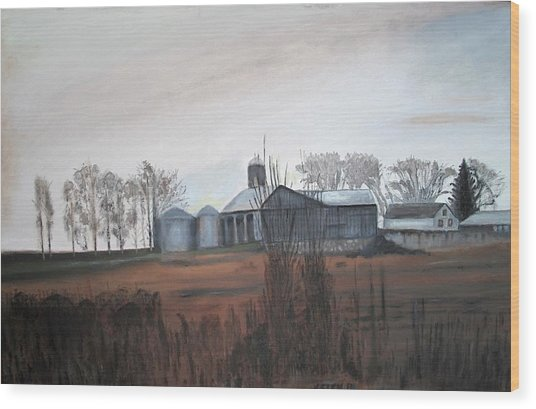 Farm In The Fall Wood Print by Keith Bagg