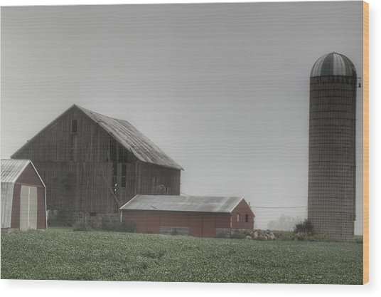 0011 - Farm In The Fog II Wood Print