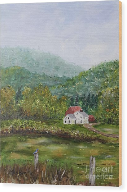 Farm In The Valley Wood Print