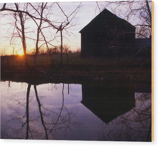 Farm Pond At Sunset Wood Print by George Ferrell