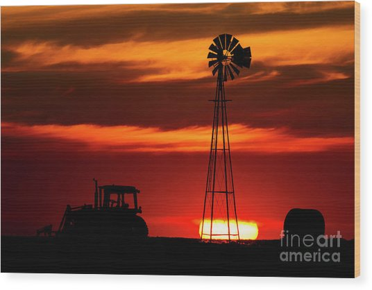 Wood Print featuring the photograph Farm Silhouettes by Brad Allen Fine Art