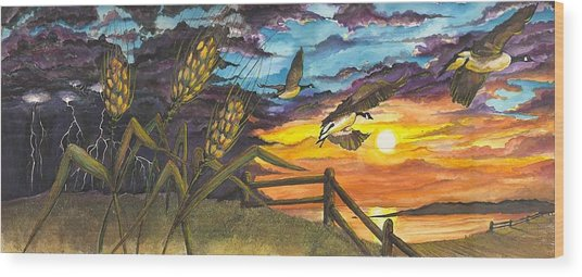 Wood Print featuring the painting Farm Sunset by Darren Cannell