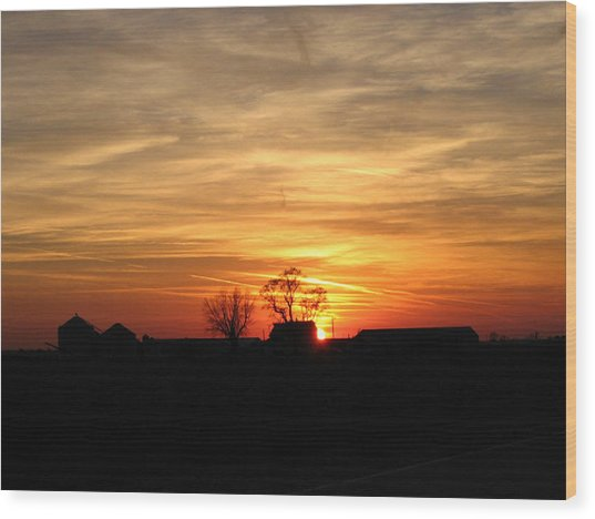 Farm Sunset Wood Print by Jack G  Brauer