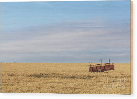 Farm Trailer In The Middle Of Field Wood Print