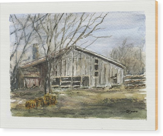 Wood Print featuring the photograph Farm Winter by Barry Jones