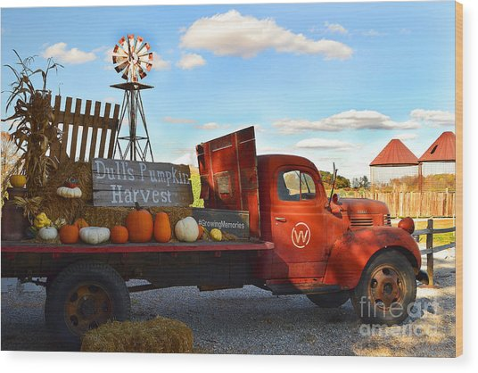 Farm With Red Truck In Fall  Wood Print
