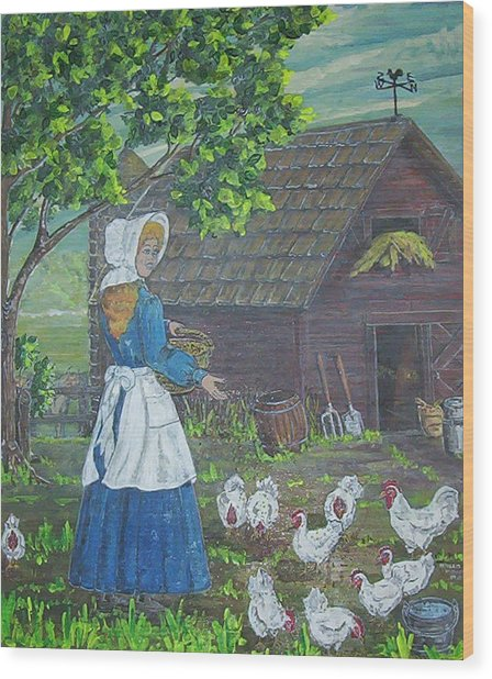 Farm Work I Wood Print by Phyllis Mae Richardson Fisher
