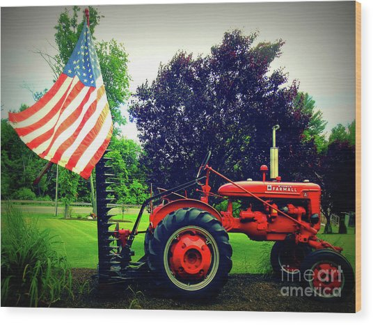 Farmall And Flag Wood Print