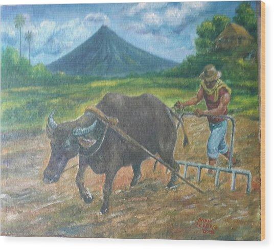Farmer_2 Wood Print by Manuel Cadag