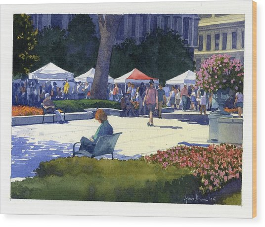 Farmers Market, Madison Wood Print