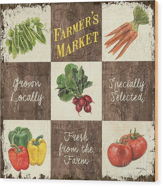 Farmer's Market Patch Wood Print