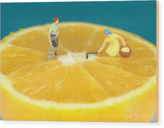 Farmers On Orange Wood Print