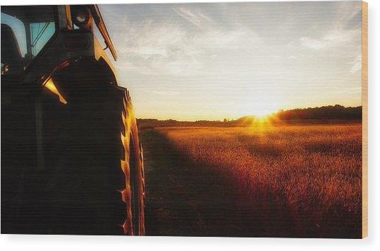Farming Until Sunset Wood Print