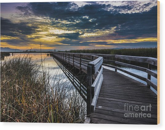 Farmington Bay Sunset - Great Salt Lake Wood Print