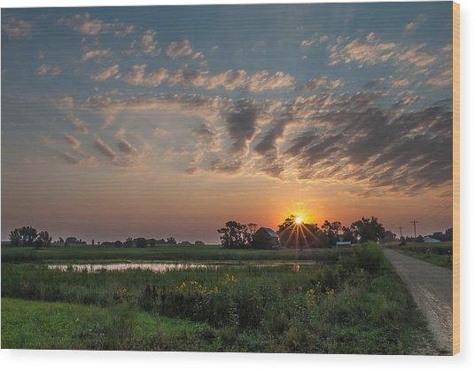 Farmstead Sunrise Wood Print