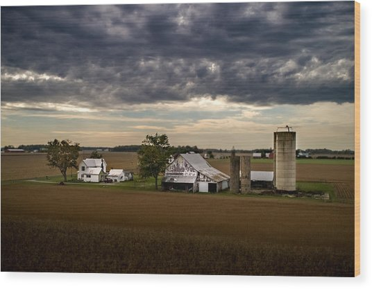 Farmstead Under Clouds Wood Print
