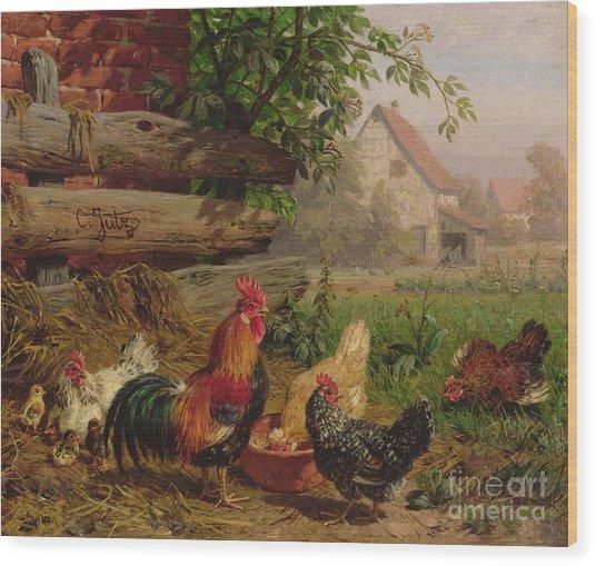 Farmyard Chickens Wood Print