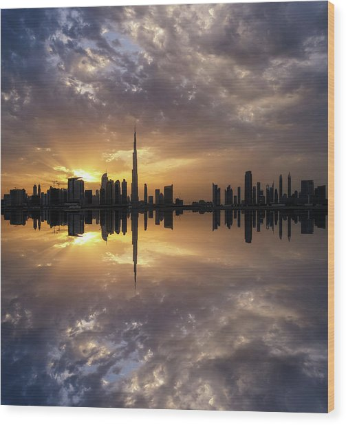 Fascinating Reflection In Business Bay District During Dramatic Sunset. Dubai, United Arab Emirates. Wood Print