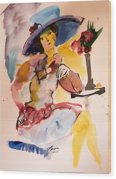 Fashion Woman With Blue Hat Wood Print
