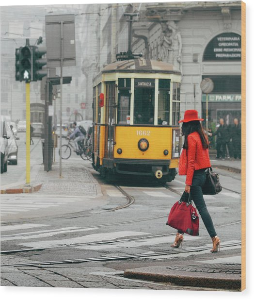 Fashionista In Milan, Italy Wood Print
