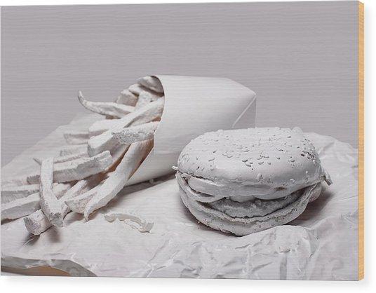 Fast Food - Burger And Fries Wood Print