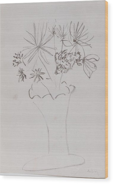Fast Vase With Flowers Wood Print by MaryBeth Minton