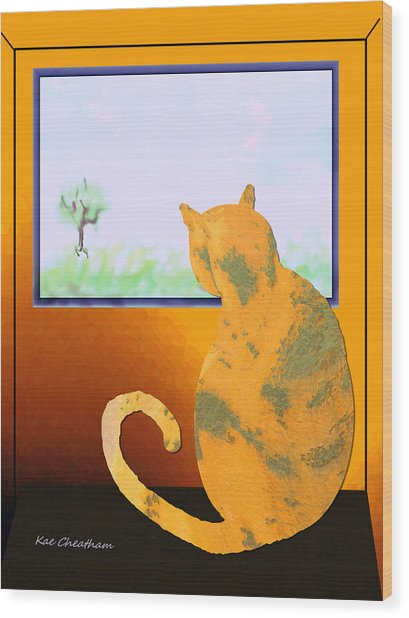 Fat Cat At Her Window Wood Print