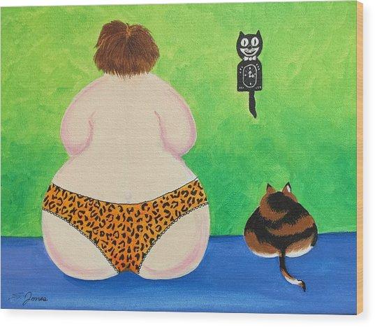 Fat Cats Wood Print
