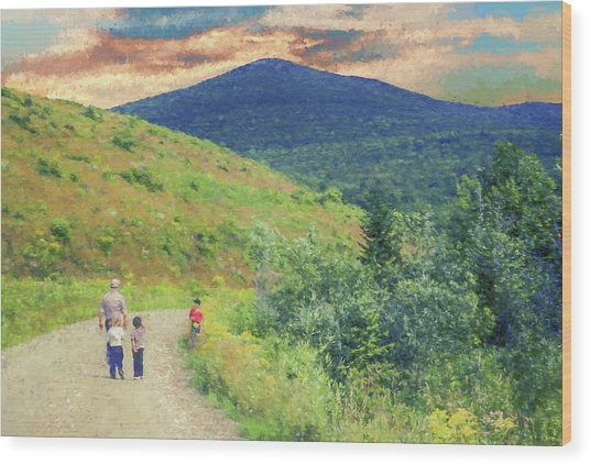 Father And Children Walking Together Wood Print