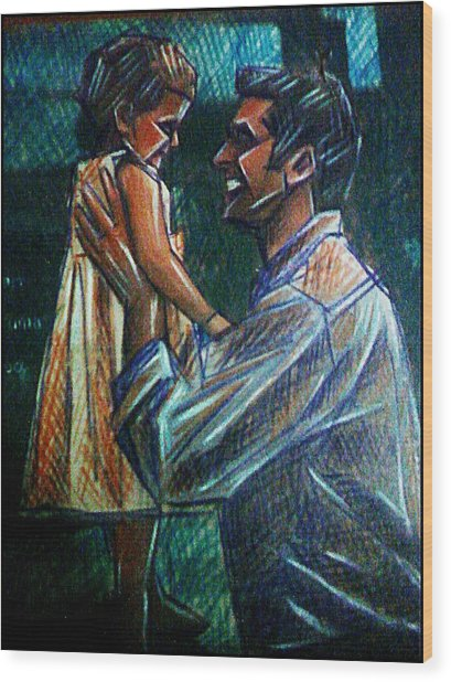 Father And Daughter Wood Print