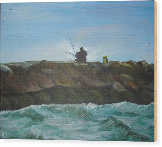 Father And Son Fishing Wood Print