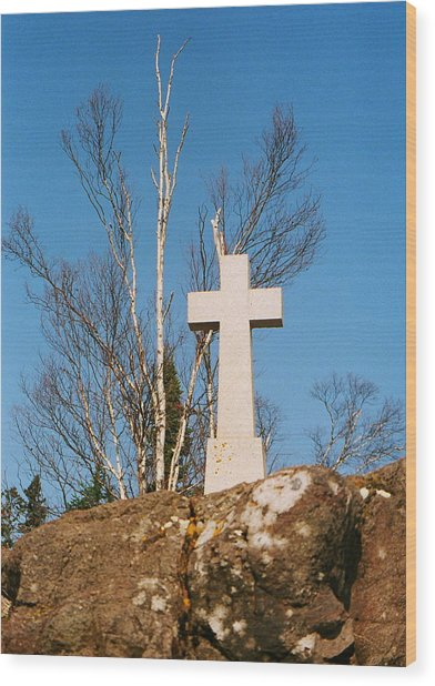 Father Baraga's Cross Wood Print by C E McConnell
