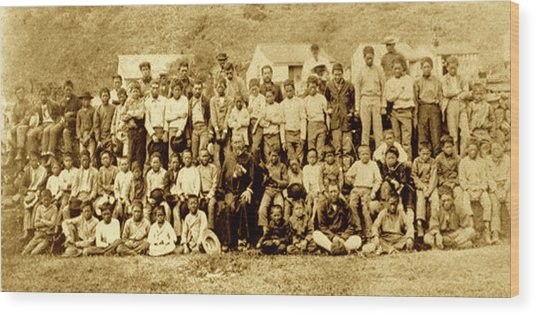 Father Damien And Boy Lepers Of Kalaupapa Wood Print by James Temple