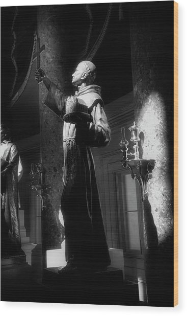 Father Junipero Serra In Black And White Wood Print