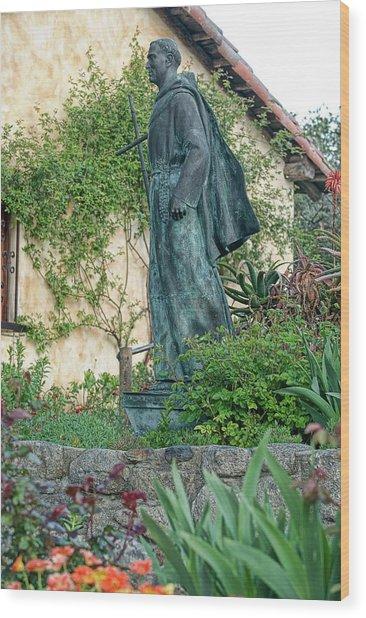 Father Junipero Serra Statue At Mission Carmel Wood Print