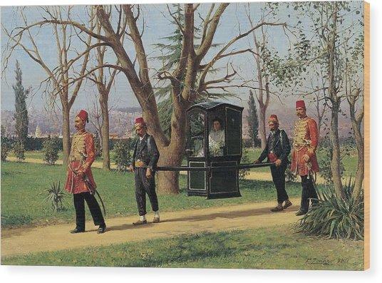 Fausto Zonaro - Daughter Of The English Ambassador Riding In A Palanquin 1896 Wood Print