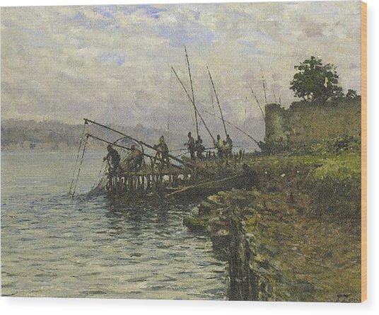Fausto Zonaro Fishing Wood Print