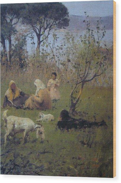 Fausto Zonaro Picnic Wood Print