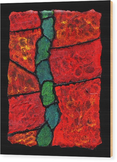 Faux Tile Painting One Wood Print