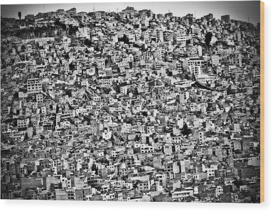 Favela Village In El Alto, La Paz, Bolivia Wood Print by Joel Alvarez