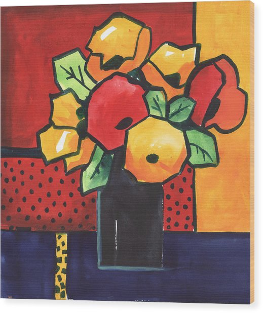 Favorite Funny Flowers 2 Wood Print by Carrie Allbritton